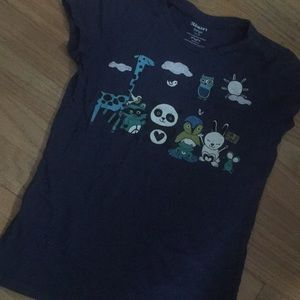 Old navy girls 10-12 navy blue animals shirt top